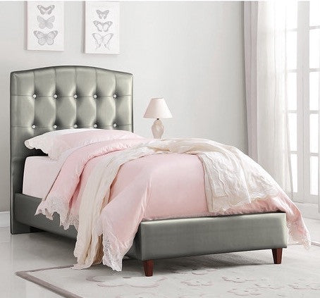 Princess Upholstered Twin Bed - Silver