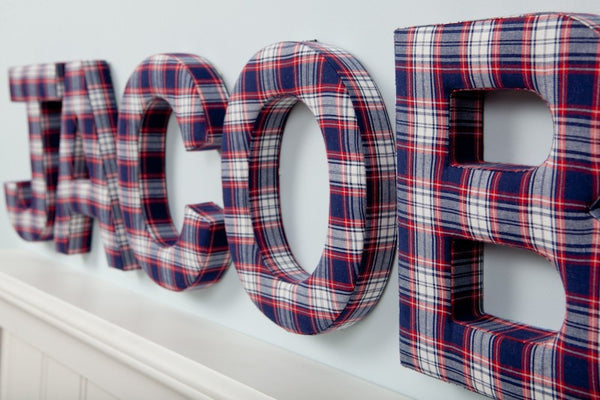 Boy Red Amp Blue Plaid Fabric Nursery Wall Letters Fun
