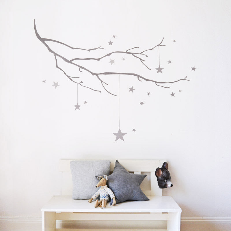 Winter Branch with Stars Fabric Wall Decal