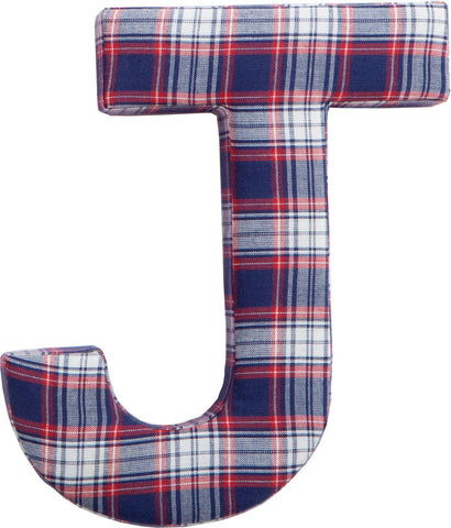 Red & Blue Plaid Fabric Wall Letters