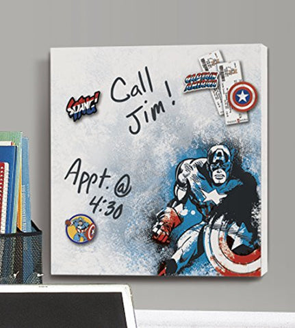 Captain America Canvas Wall Art - Dry Erase and with Magnets