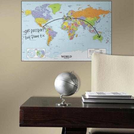 World Map Dry Erase Giant Wall Decal