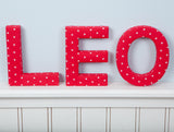 Red with White Stars Fabric Wall Letters