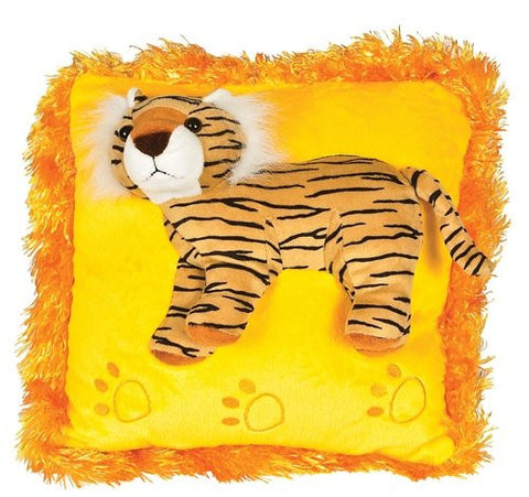Neon Raised Tiger Plush Pillow