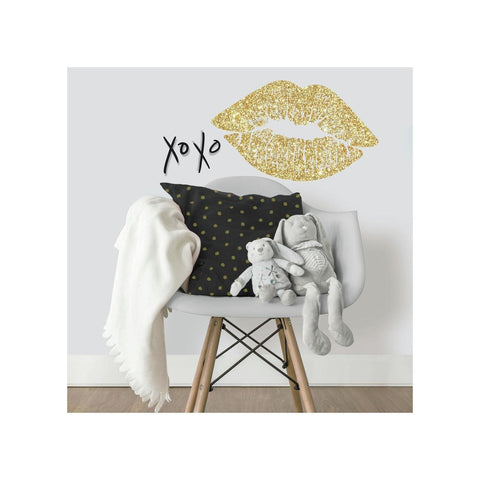 XOXO Lips Wall Decals with Glitter