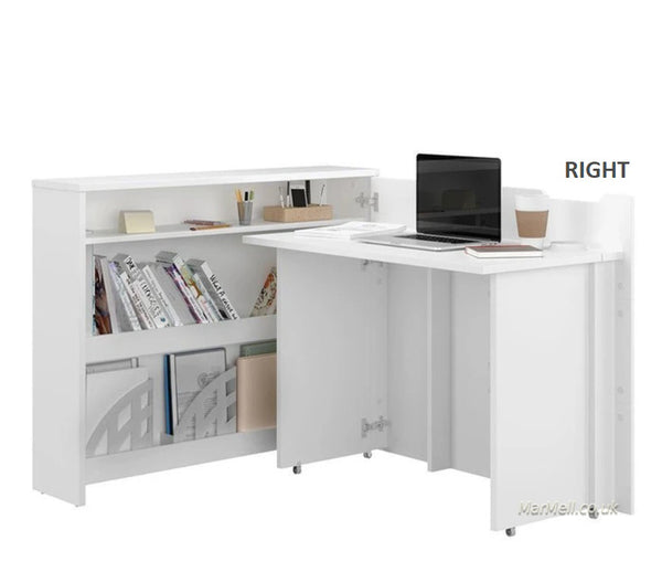 Convertible Hidden Desk With Storage, Folding Desk Space saving desk right, white, marmell