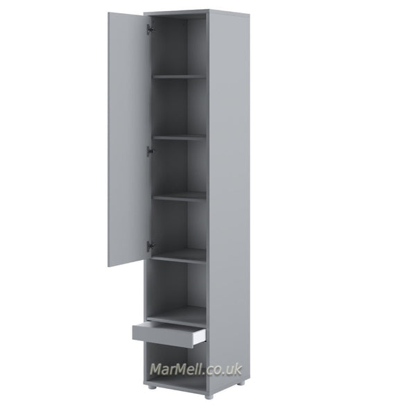 Tall Storage Cabinet cupboard with shelves for Vertical Wall Bed fold-down bed grey open marmell
