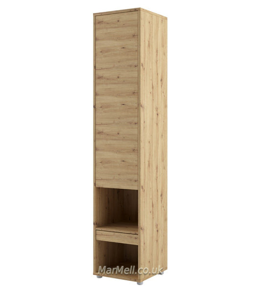 Tall Storage Cabinet cupboard with shelves for Vertical Wall Bed fold-down bed oak marmell