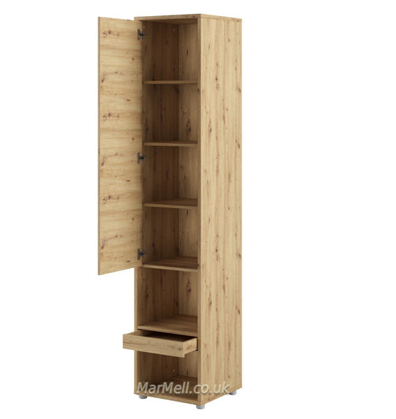 Tall Storage Cabinet cupboard with shelves for Vertical Wall Bed fold-down bed oak open marmell