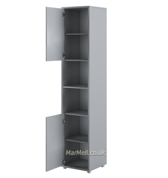 Tall Storage Cabinet cupboard with shelves push-to-open door for Vertical Wall Bed fold-down bed gray open marmell