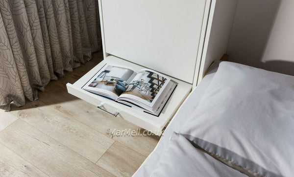 bed with cabinets, white, folding bed  Murphy Bed Space Saving Bed
