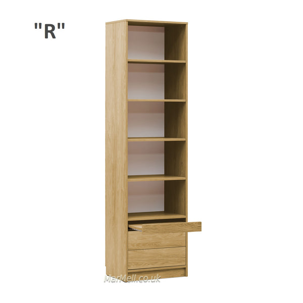 cabinet storage bookcase with shelves and a little table and drawers marmell