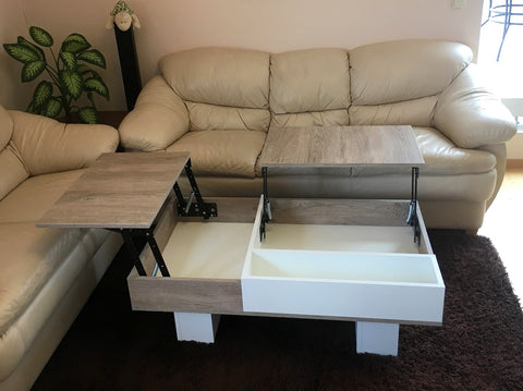 coffee table with folding desk and storage