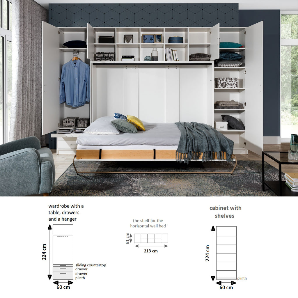 double horizontal wall bed -with cabinets open