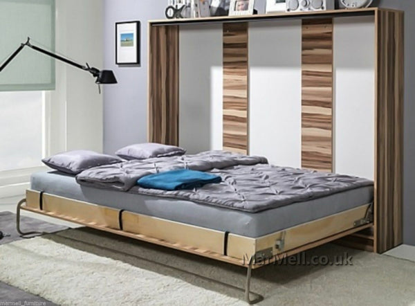 single horizontal wall bed, Murphy bed, folding bed, hidden bed, space saving bed, fold-down bed open