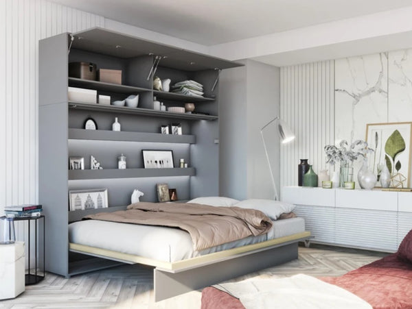 double horizontal wall bed Murphy bed space saving bed with over bed unit top cabinet open