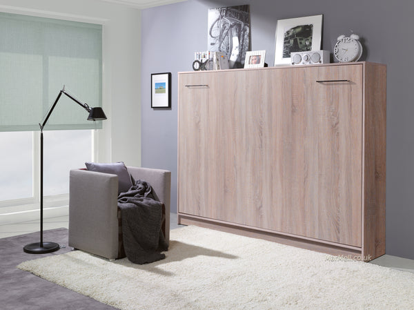 double horizontal wall bed fold away puling down space saving bed convertible bed folding hidden bed Murphy bed oak sonoma light marmell