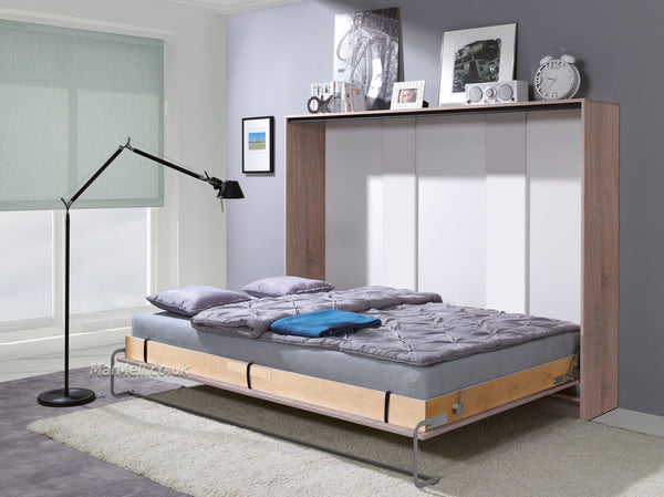 double horizontal wall bed fold away puling down space saving bed convertible bed folding hidden bed Murphy bed oak sonoma light marmell open