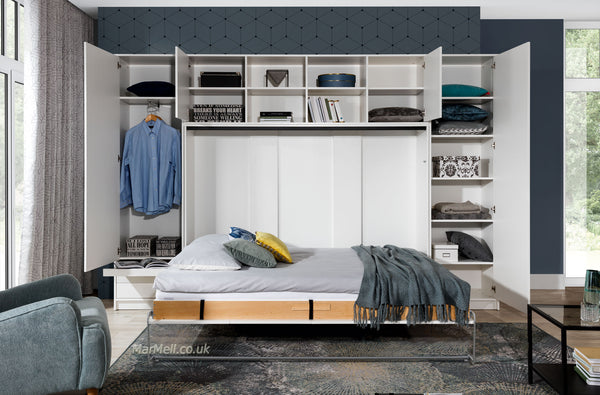 double horizontal wall bed with cabinets-open fold - down Murphy Bed Space Saving Bed