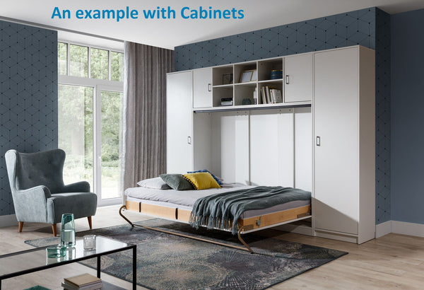 double horizontal wall bed space saving bed, hidden bed, Murphy bed, folding down bed with cabinets wardrobe