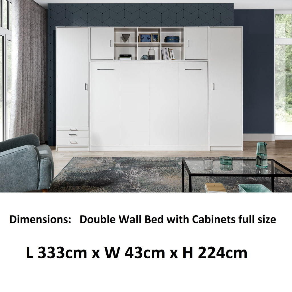 double horizontal wall bed with  cabinets, white