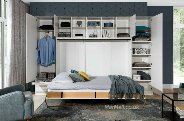 double horizontal wall bed with cabinets, white, fold - down Murphy Bed Space Saving Bed, Hidden bed