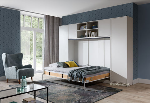 double horizontal wall bed with cabinets multifunctional fold down bed Murphy hidden pull down convertible bed marmell