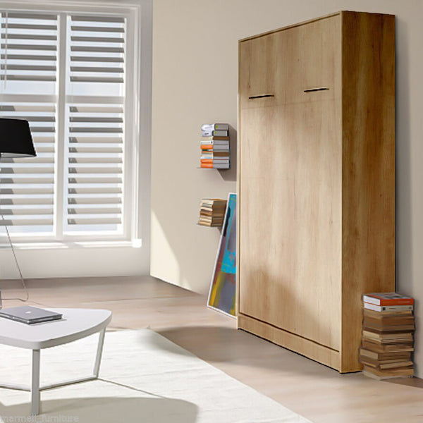 vertical small double wall bed, Murphy bed, space saving bed, fold-down bed