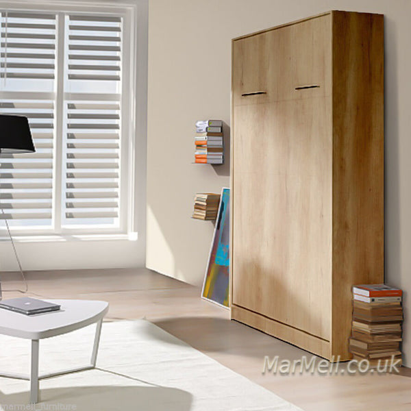 small double vertical wall bed, murphy bed, hidden bed, space saving bed, fold-down bed, multifunctional bed