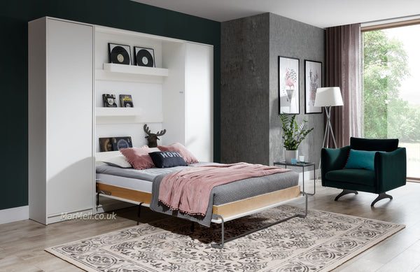 small double vertical wall bed with cabinets - Murphy bed, fold-down bed, space saving bed