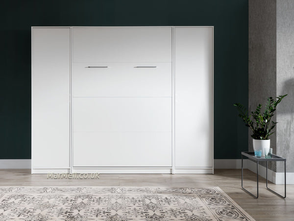 double vertical wall bed with cabinets - white