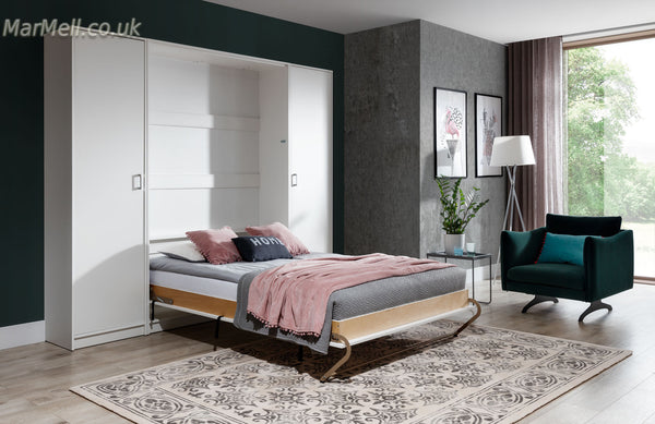 wall bed, Murphy bed, hidden bed, folding bed, space saving bed with cabinets, wardrobes