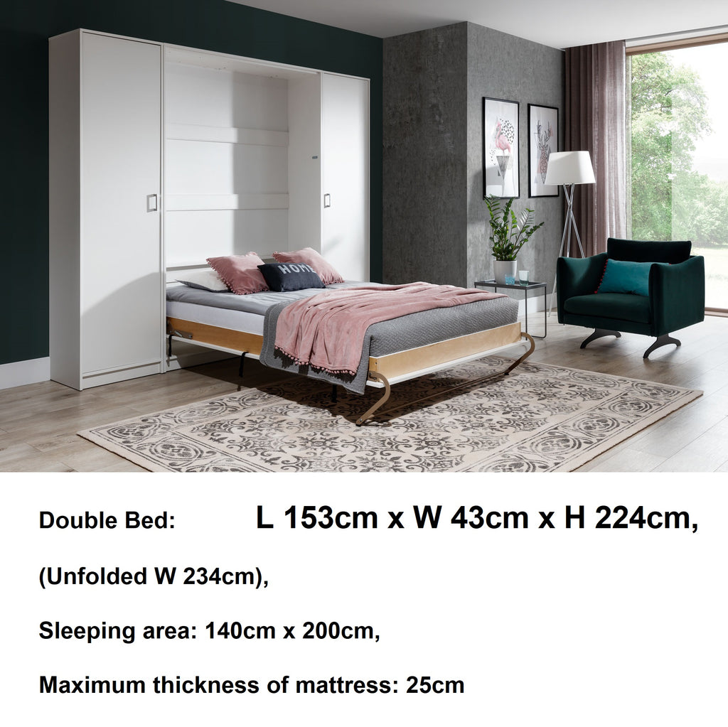 double vertical wall bed with cabinets -open
