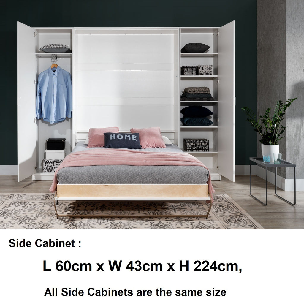 double vertical wall bed with cabinets