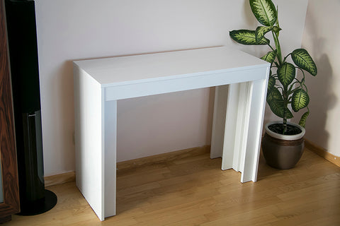 white extending dining table