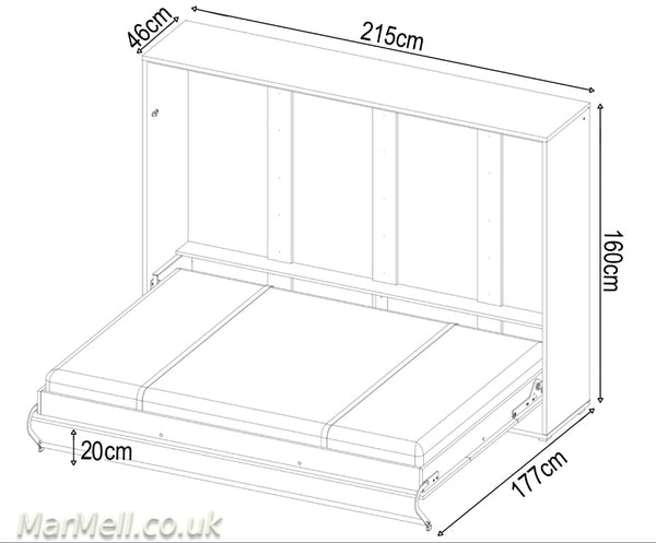 horizontal double wall bed, murphy bed, hidden bed, space saving bed, fold-down bed
