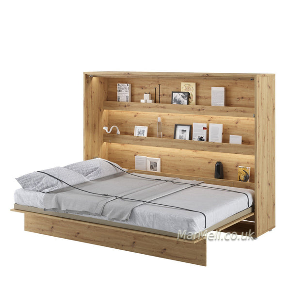 horizontal double wall bed, space saving bed, hidden bed, fold-down bed