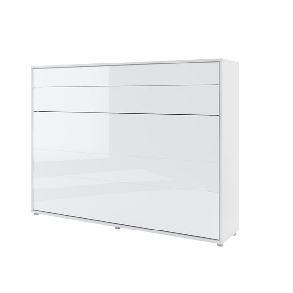 horizontal double wall bed white gloss closed