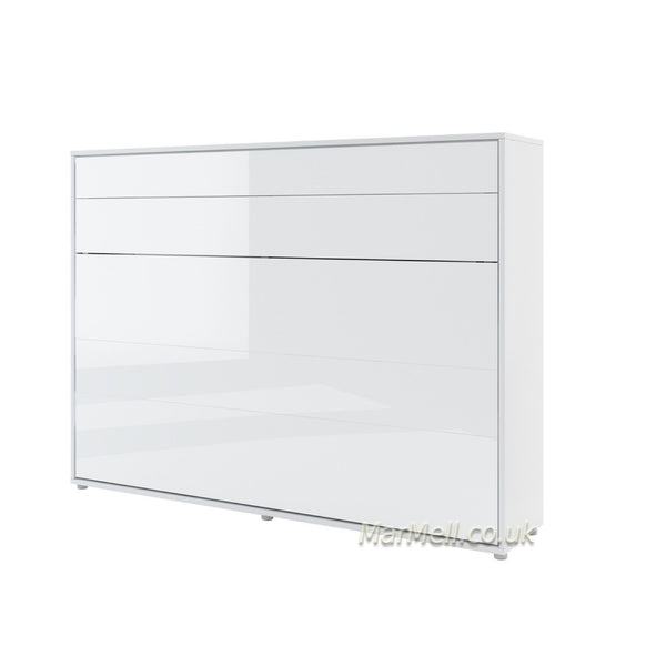 horizontal double wall bed white gloss hidden bed space saving bed