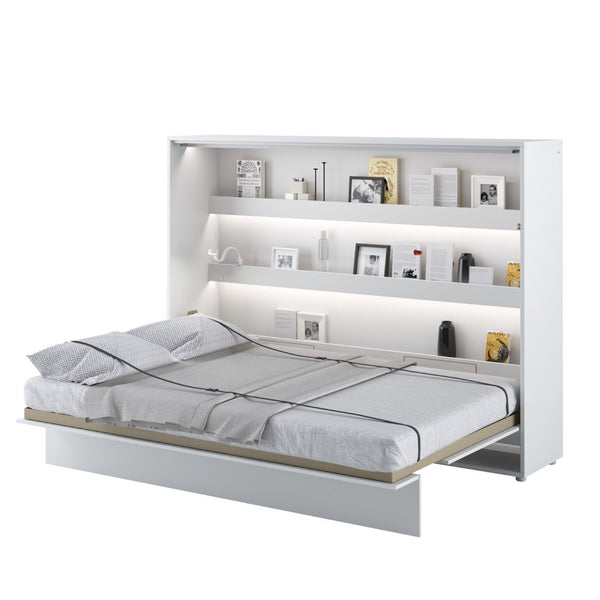 horizontal double wall bed white open