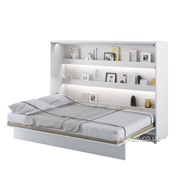 horizontal wall bed, space saving bed, hidden bed, fold-down bed, folding bed