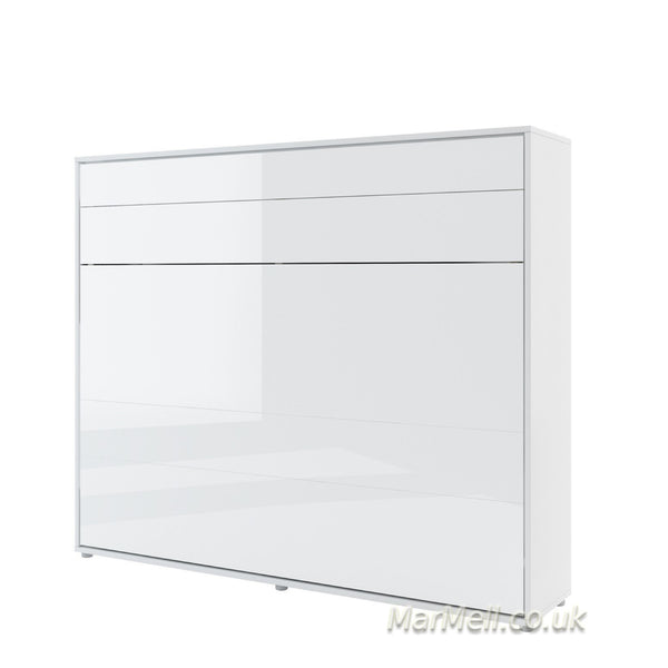 horizontal king size wall bed Murphy bed space saving fold-down bed white gloss