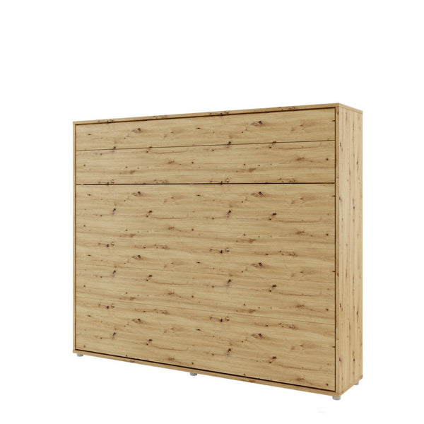 horizontal king size wall bed Murphy bed space saving fold-down bed oak