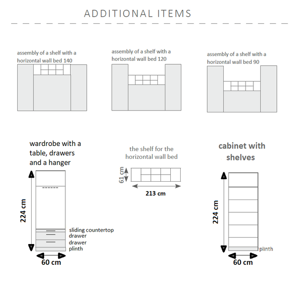 horizontal wall bed -additional items dimensions