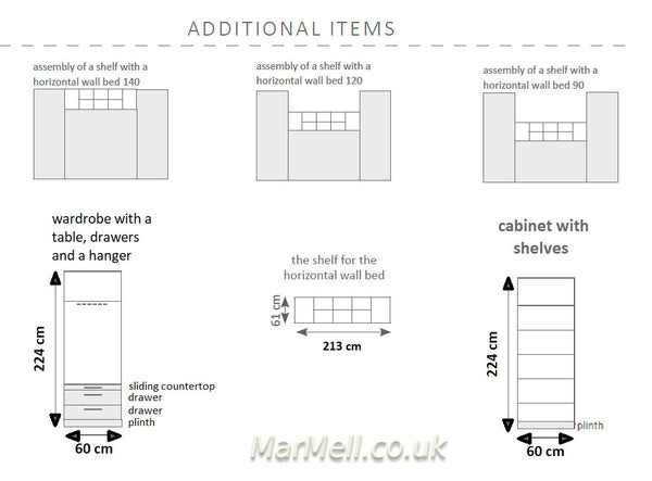 horizontal wall bed -additional items dimensions x