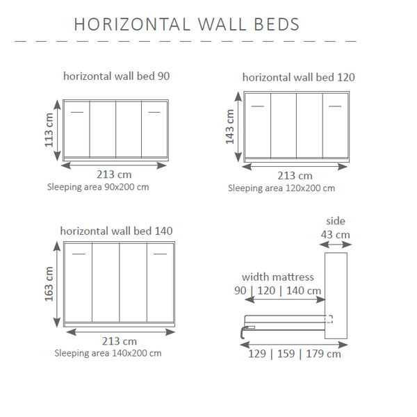 horizontal wall bed -dimensions