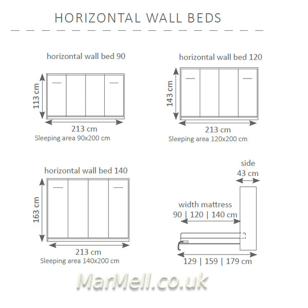 horizontal wall bed -dimensions kopia