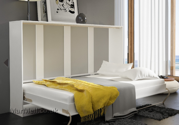 horizontal wall bed, Murphy bed, folding bed, hidden bed, space saving bed, fold-down bed, small berdoom