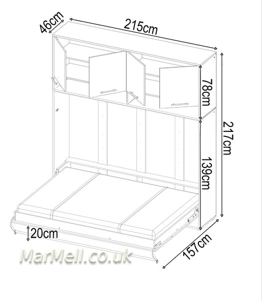 horizontal wall bed, folding bed, multifunctional bed with top cabinet, over bed unit