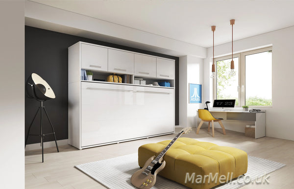 horizontal wall bed, murphy bed, folding bed, multifunctional bed with over bed unit